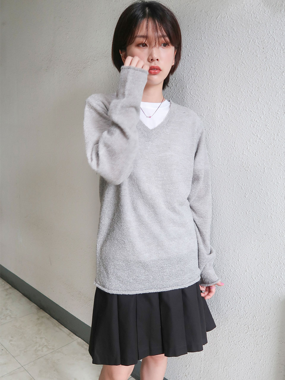 boucle v-neck knit(3color)