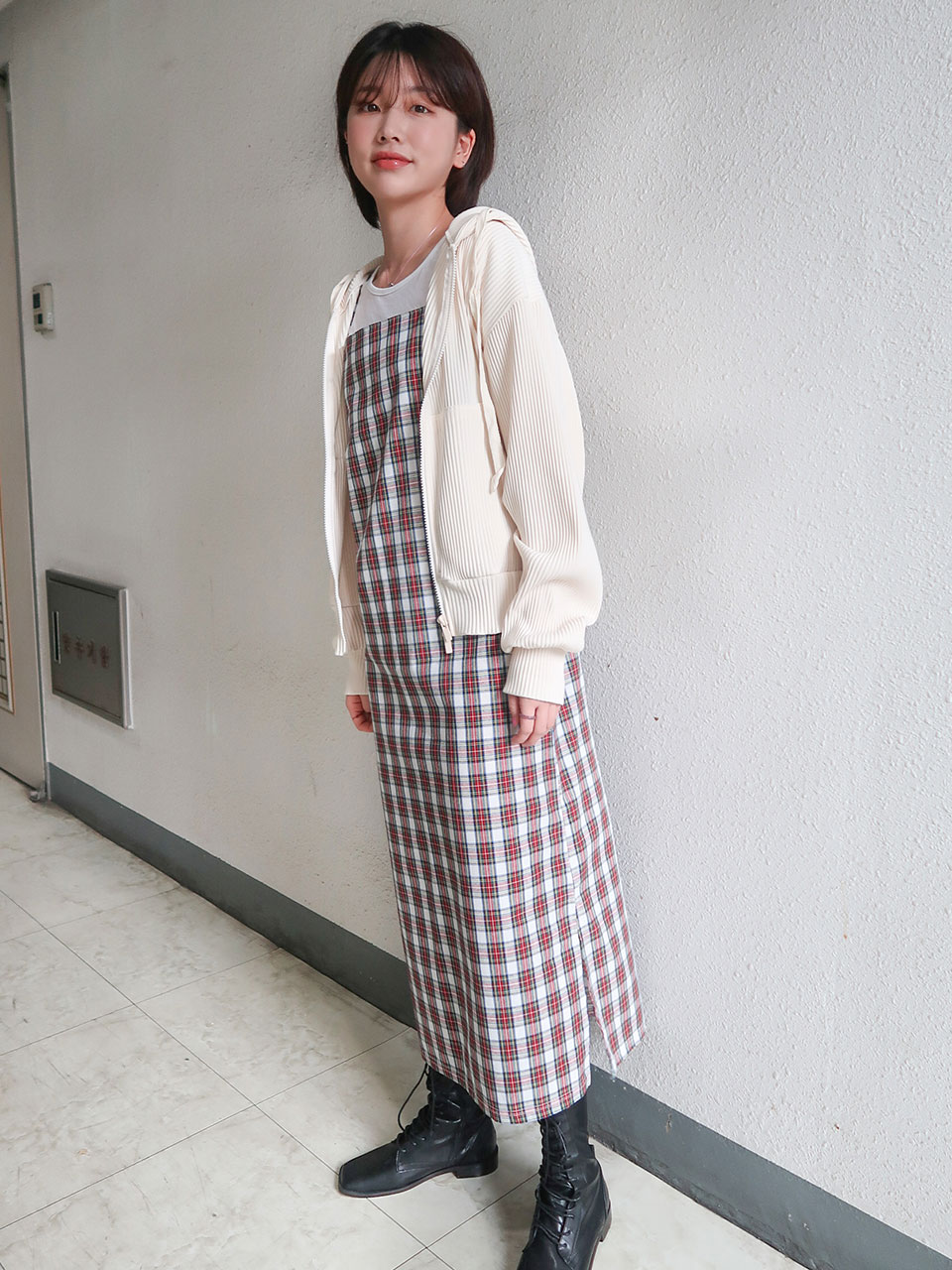 tartan check long dress(2color)