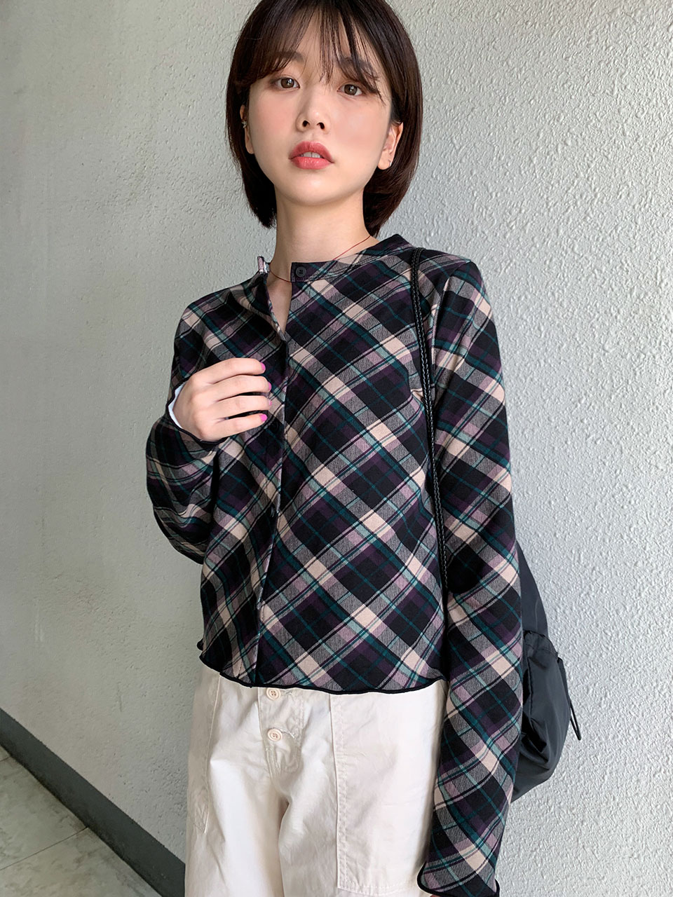 vintage check cardigan(2color)
