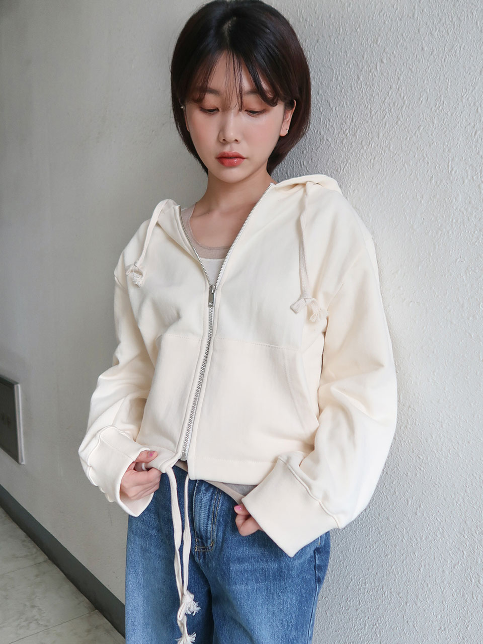 short hood zip-up(3color)