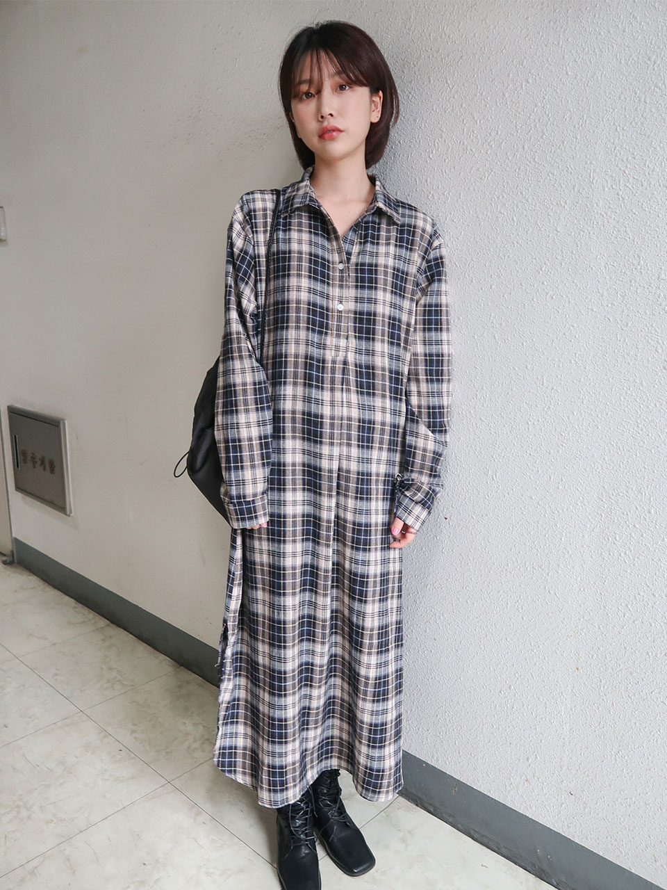 check shirt long dress(2color)