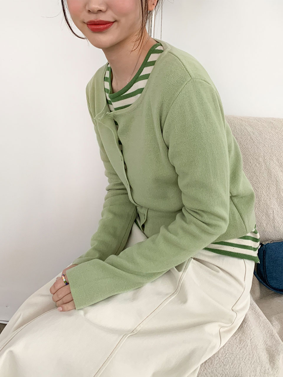 u-neck slim knit cardigan(5color)