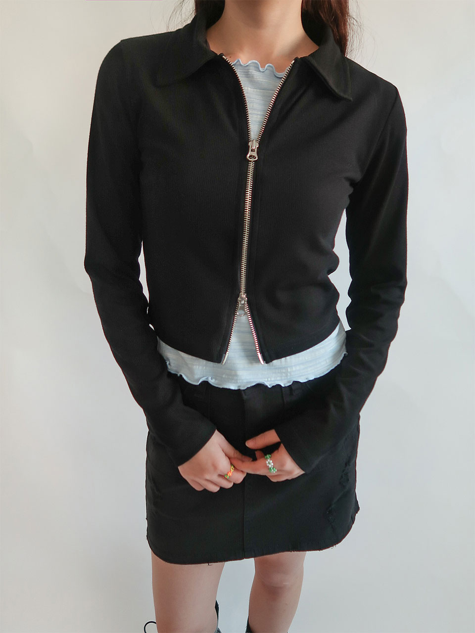 two-way zip up cardigan(3color)