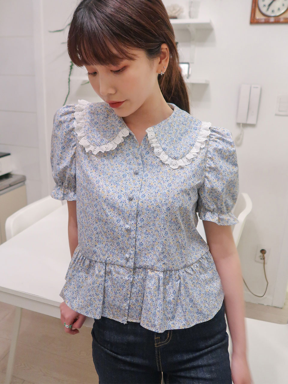 lovely mood floral blouse(2color)