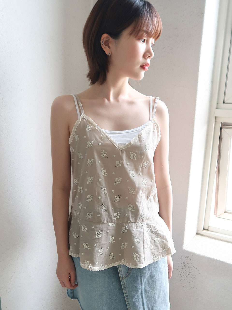 flower punching sleeveless(2color)