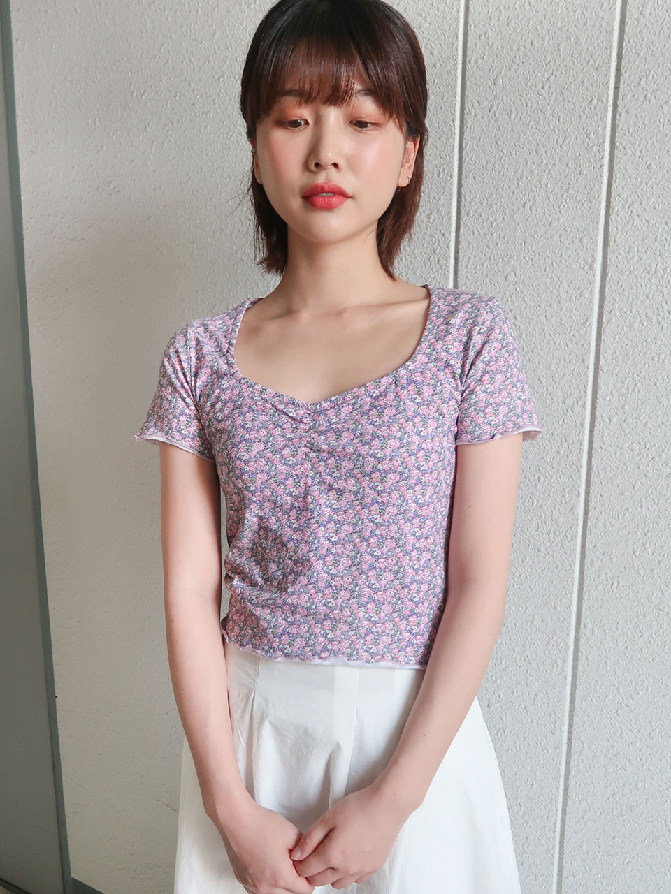 square shirring  floral t-shirt(2color)