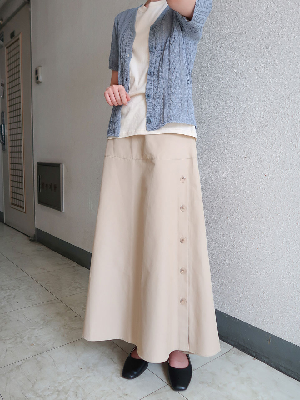 button point long skirt(2color)