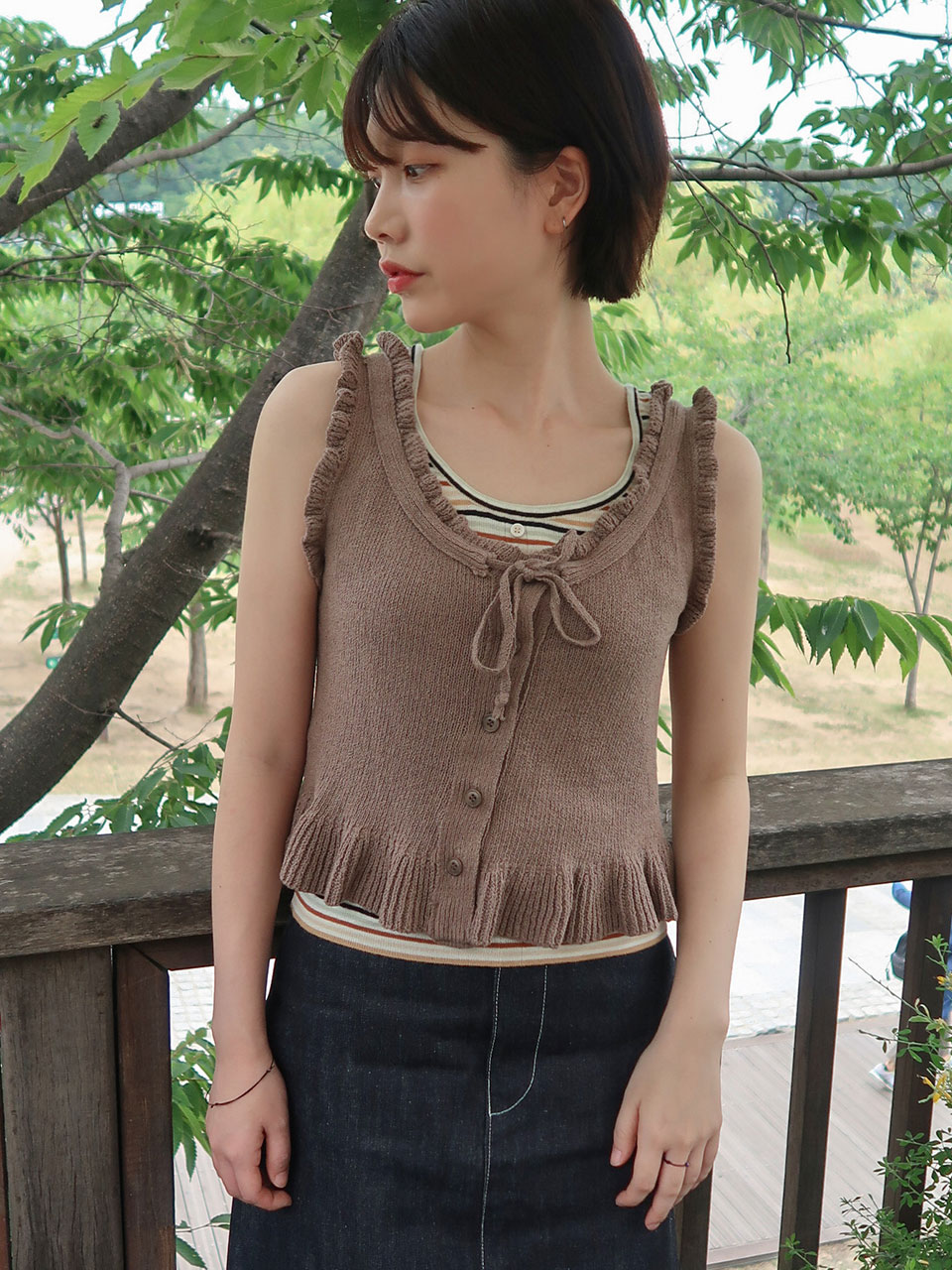 frill button ribbon knit(3color)