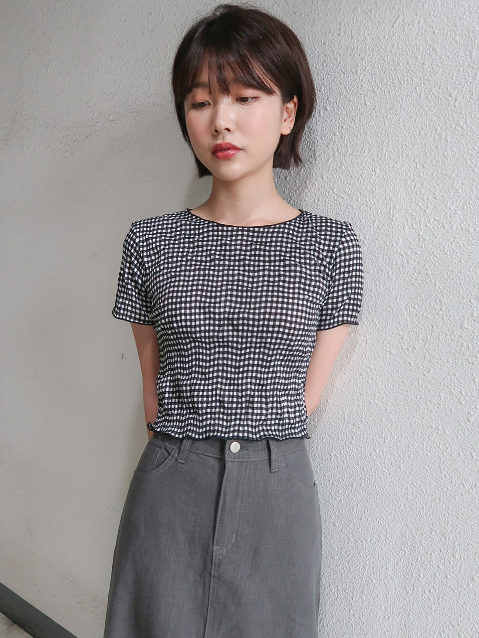 wirnkle check crop tee(3color)