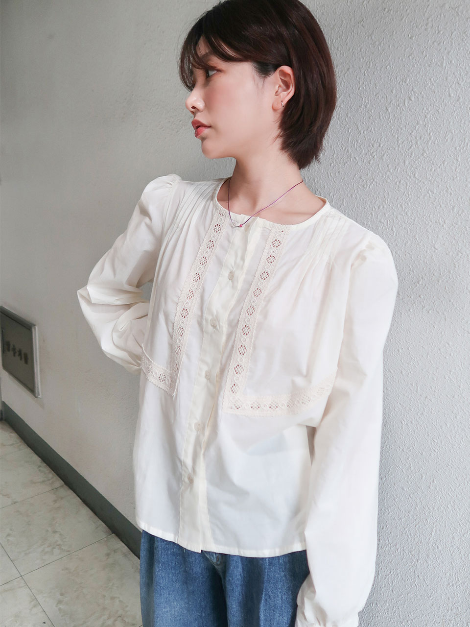 adorable lace blouse(2color)