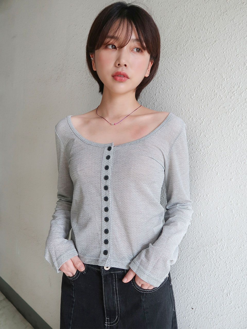 unique pattern button cardigan(3color)