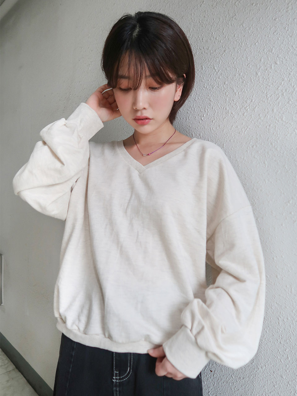 v-neck loose sweat shirt(5color)