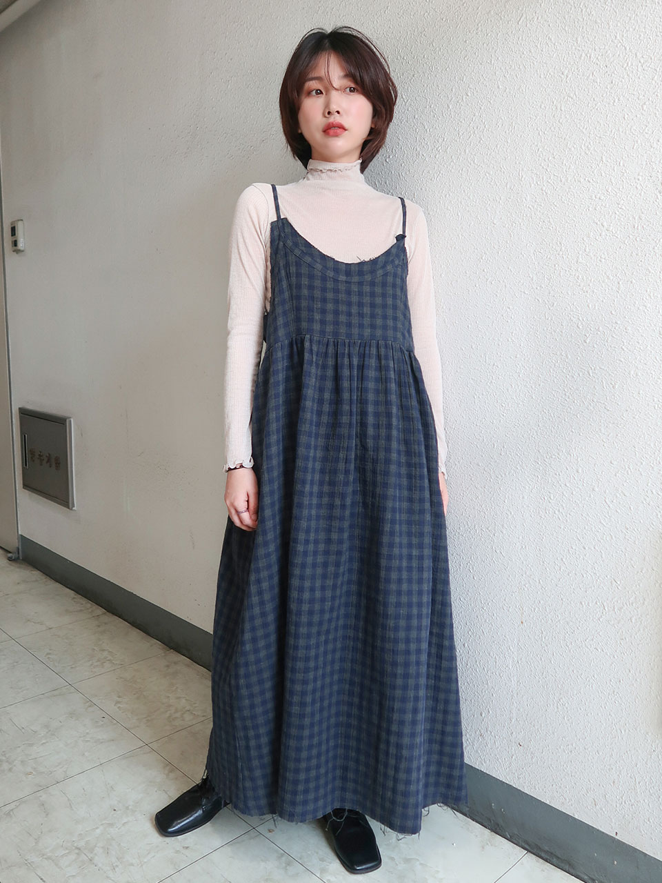 cutting gingham check dress(2color)