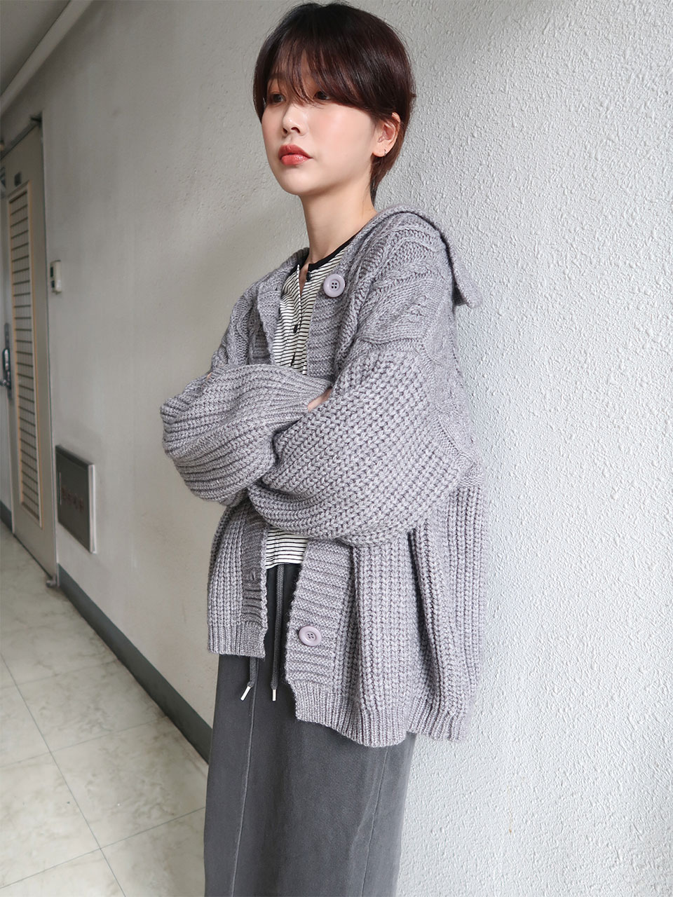twisted bulky knit cardigan(3color)
