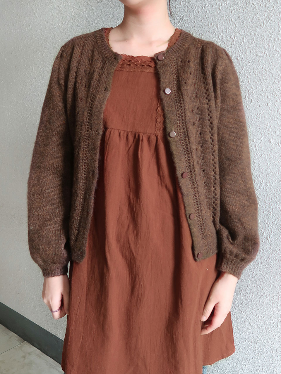 vintage knitting thick cardigan(3color)