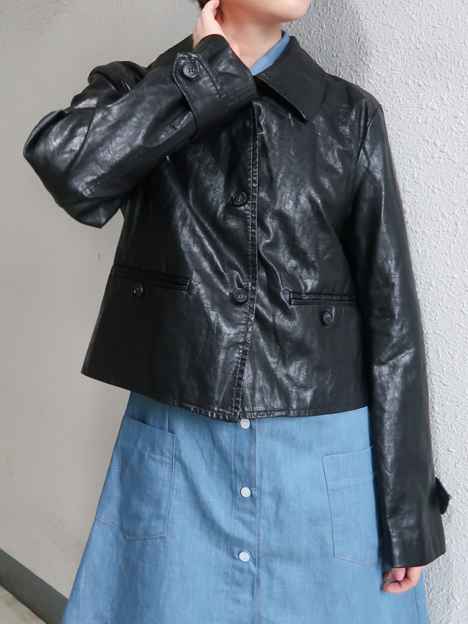 glossy leather jacket(2color)