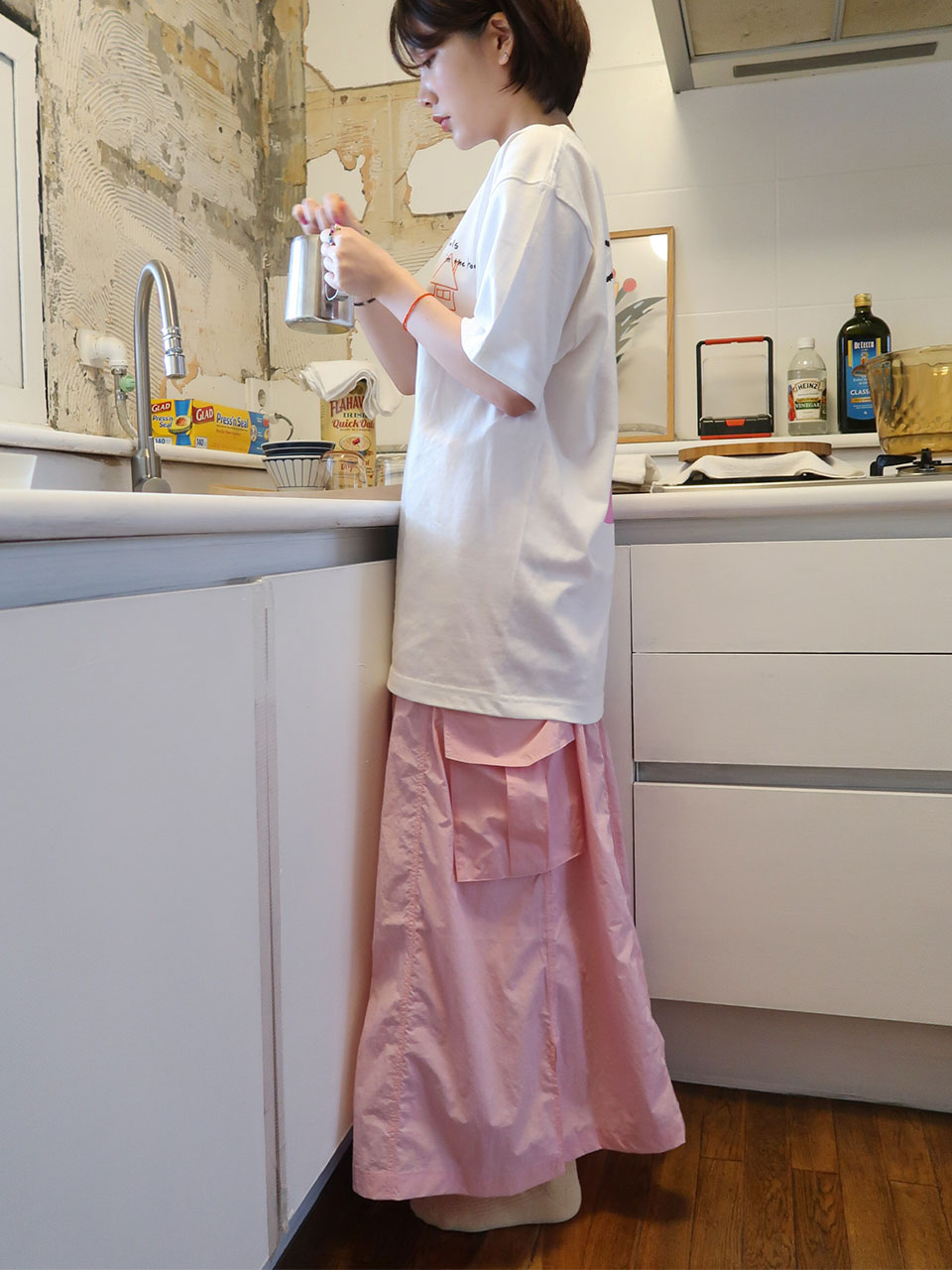 crispy cargo long skirt