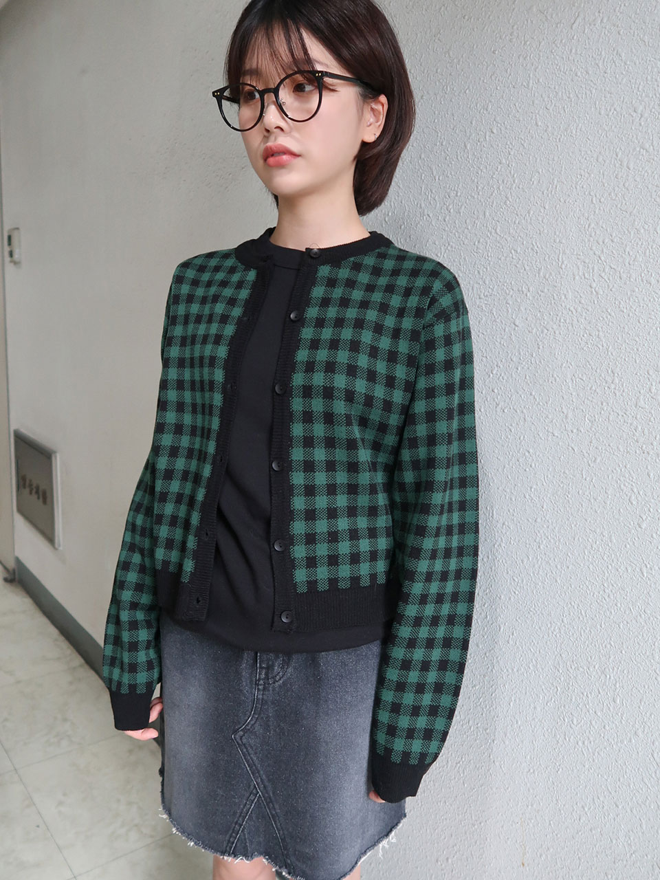 gingham check button cardigan(5color)