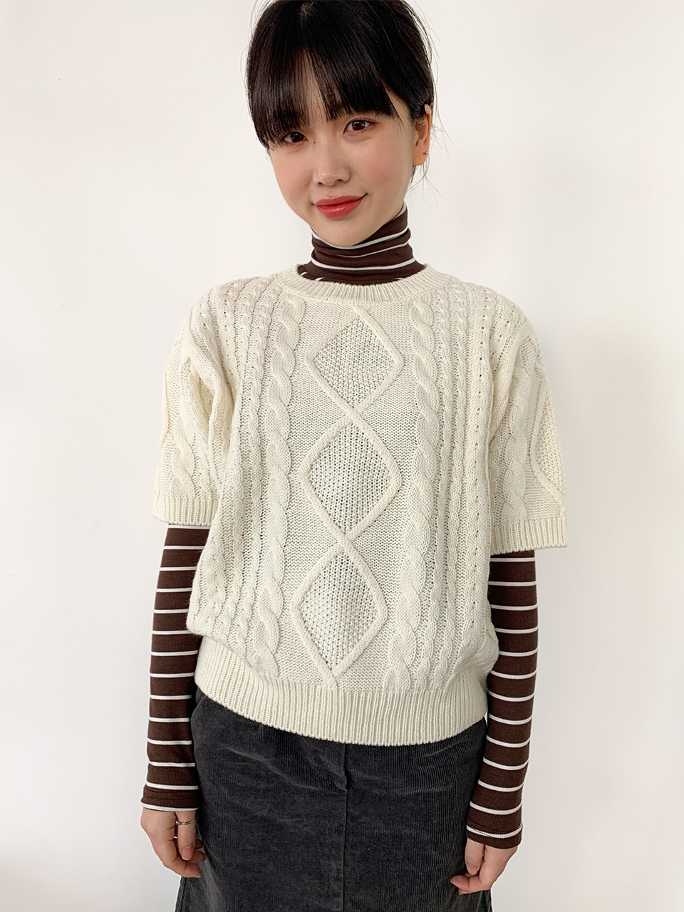 twisted round half knit(3color)