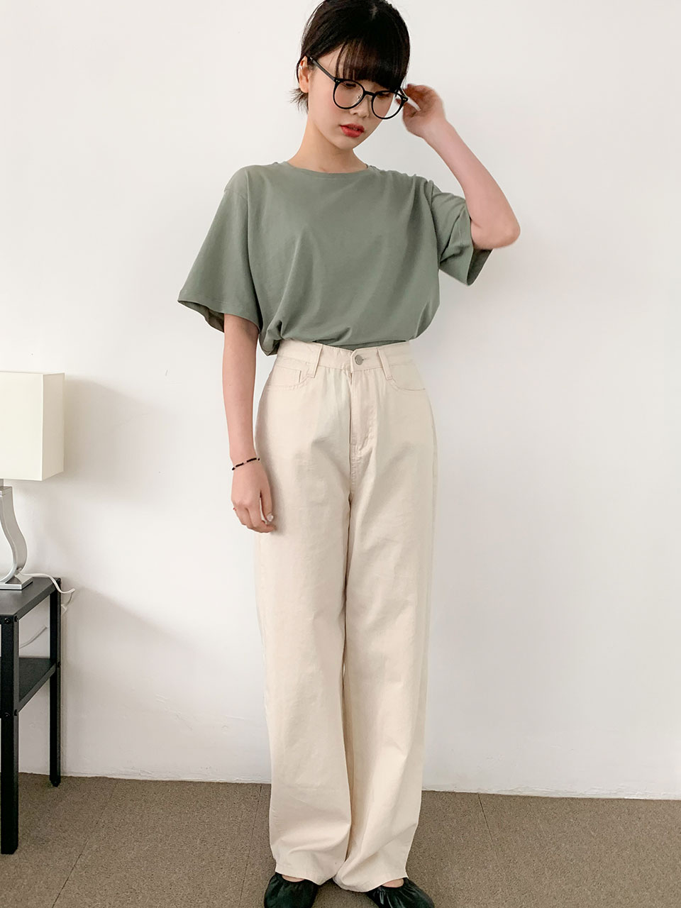cotton wide long pants(3color)