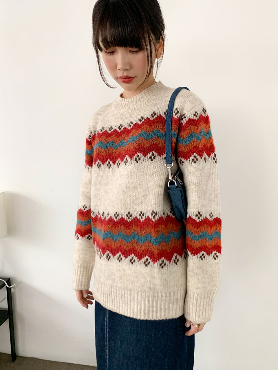 nordic pattern cosy knit(2color)