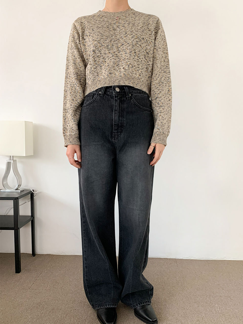 wide dark denim pants